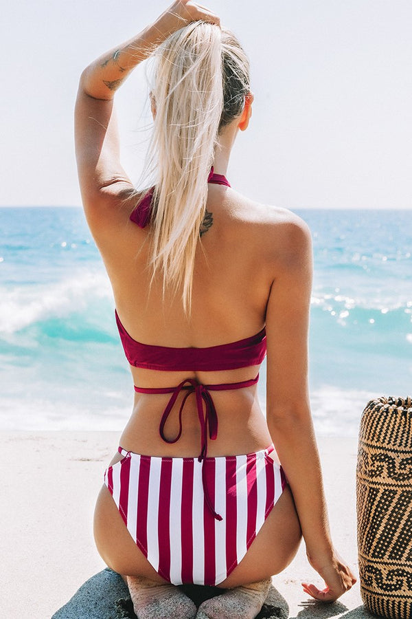 Cross Wrap Solid and Stripe Halter Bikini