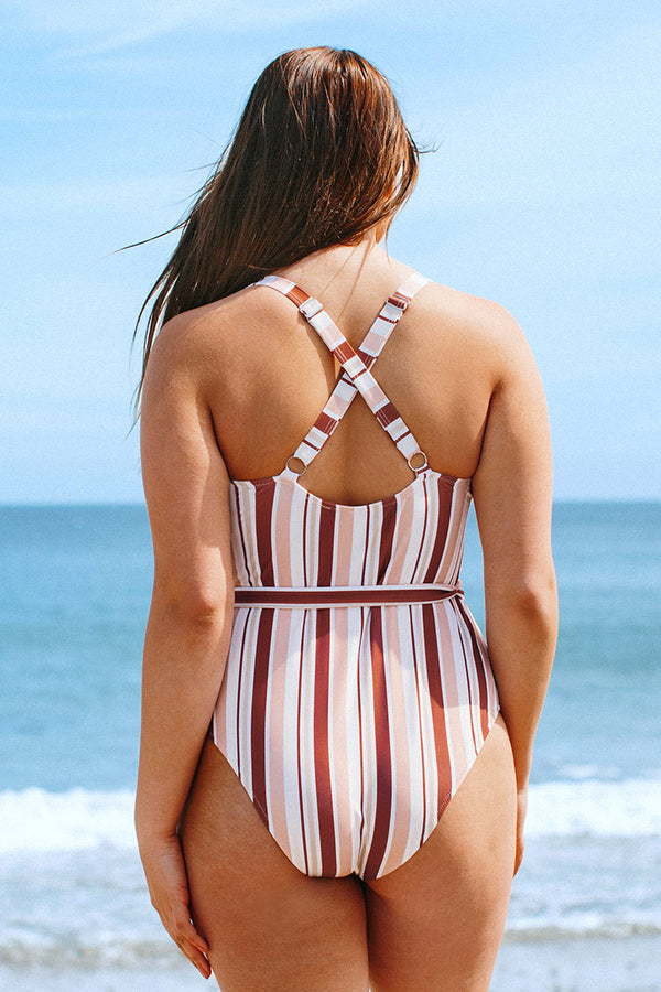 Natalia Striped Belted Plus Size One Piece Swimsuit
