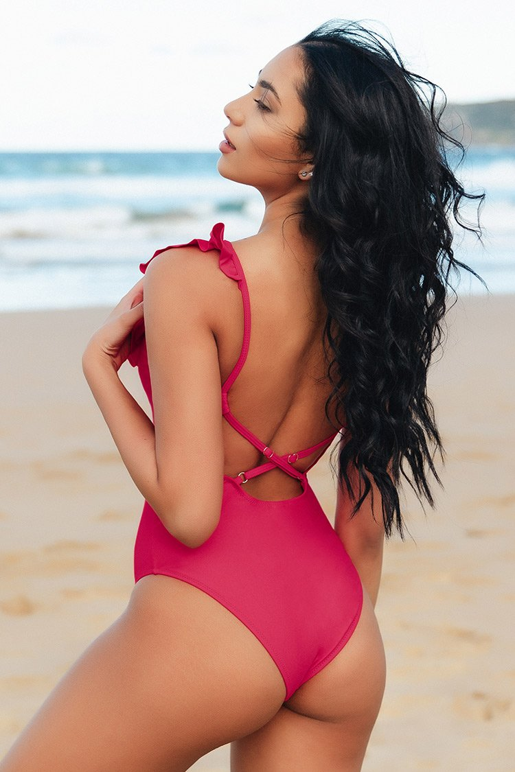Red Ruffled Plunging Neckline One-piece Swimsuit