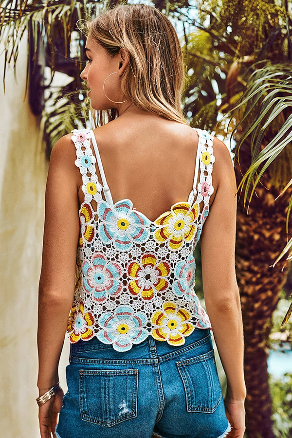 Colorful Floral Crochet Tank Top