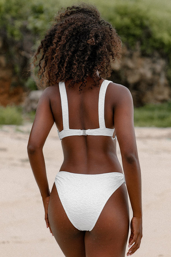 White O-Rings Cutout One Piece Swimsuit