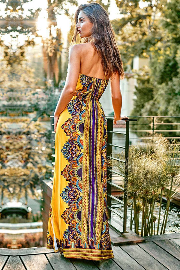 Yellow Boho Halter Maxi Dress