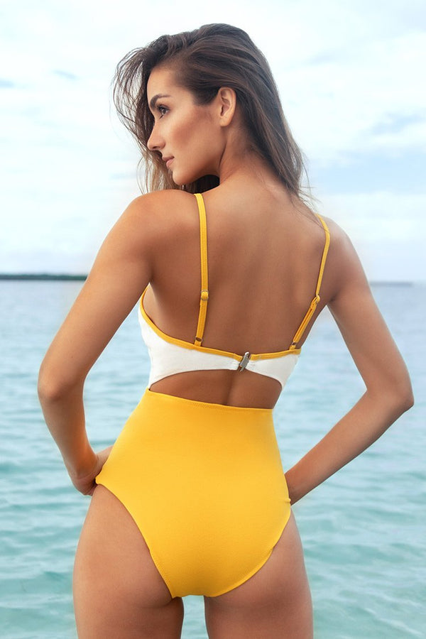 White and Yellow Cutout One-Piece Swimsuit