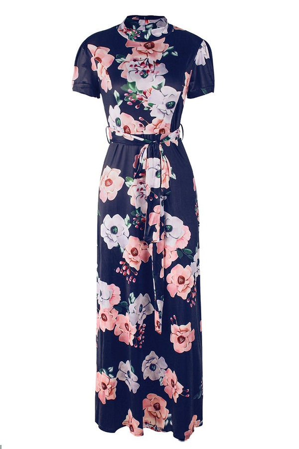 Mock Turtleneck Black Floral Maxi Dress