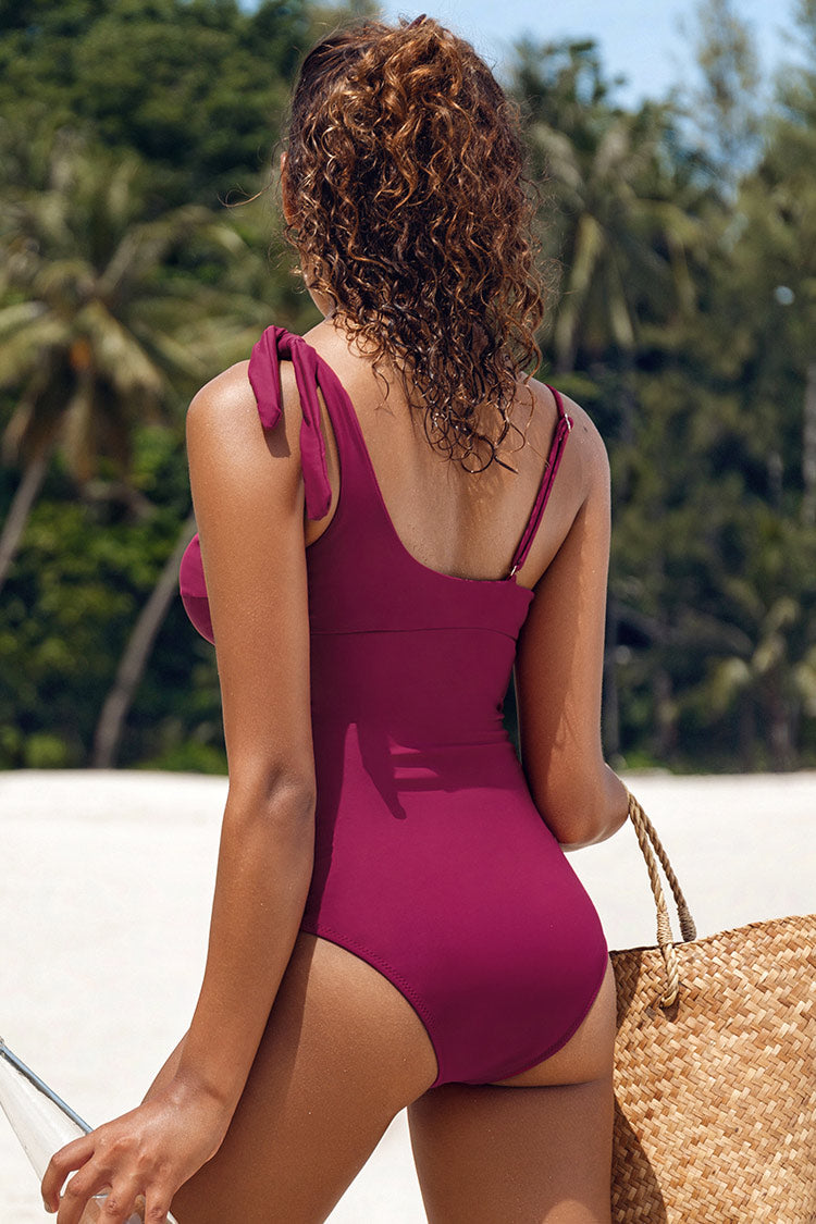 Wine Red Twist One-Piece Swimsuit