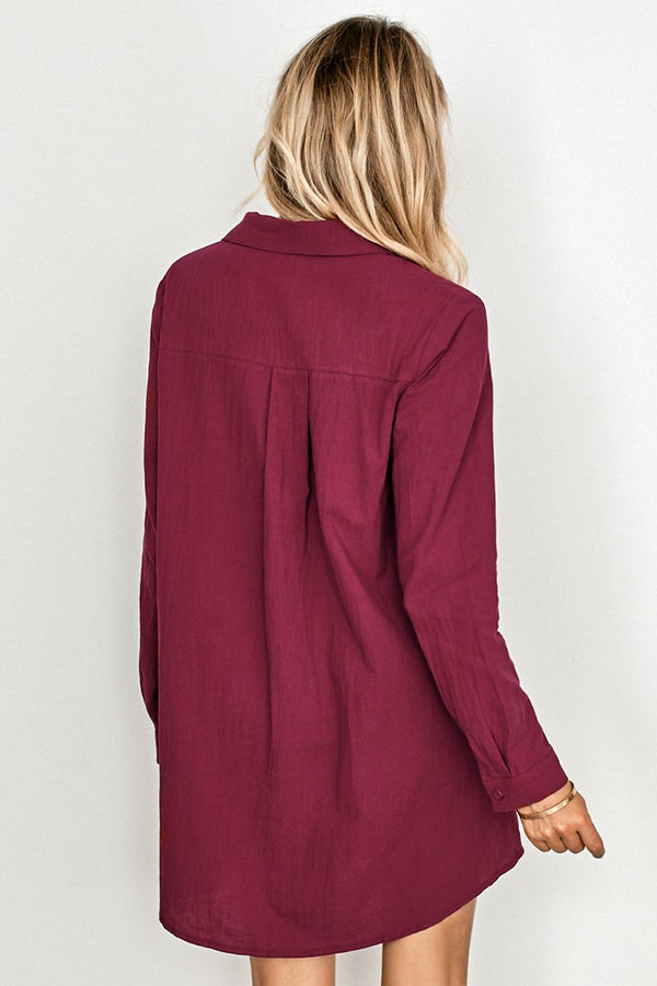 Wine Red Shirt Dress