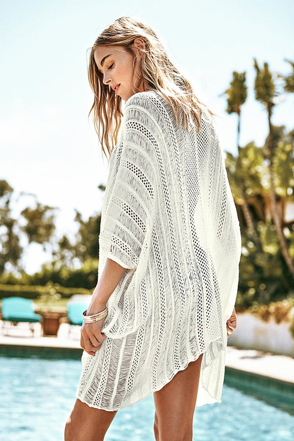 White Mesh Drawstring Cover Up