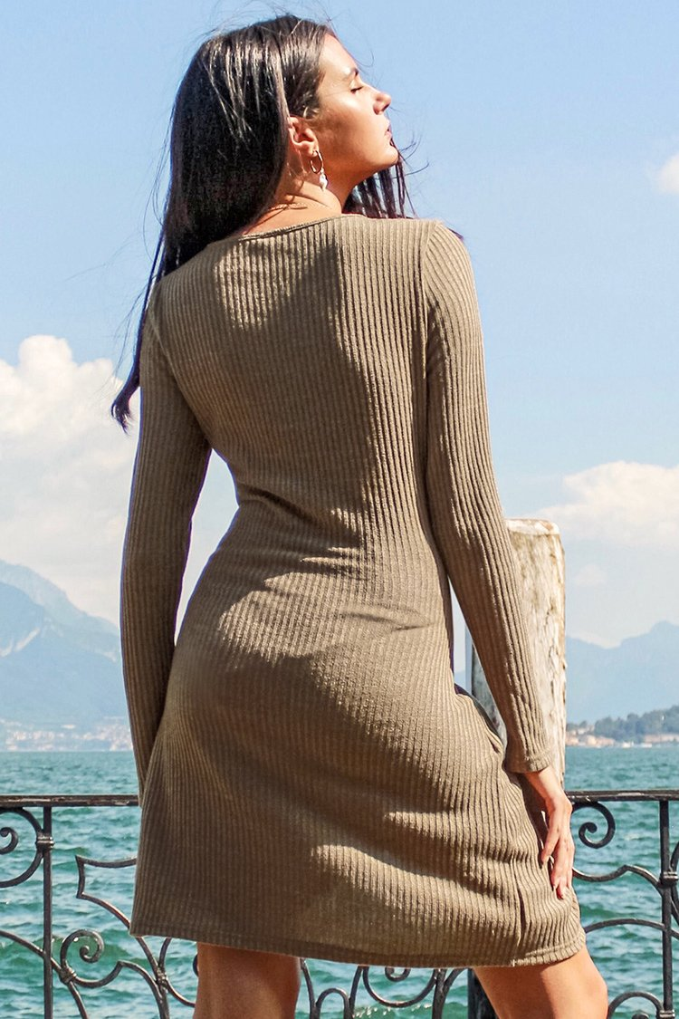 Camel Long Sleeve Wrap Dress