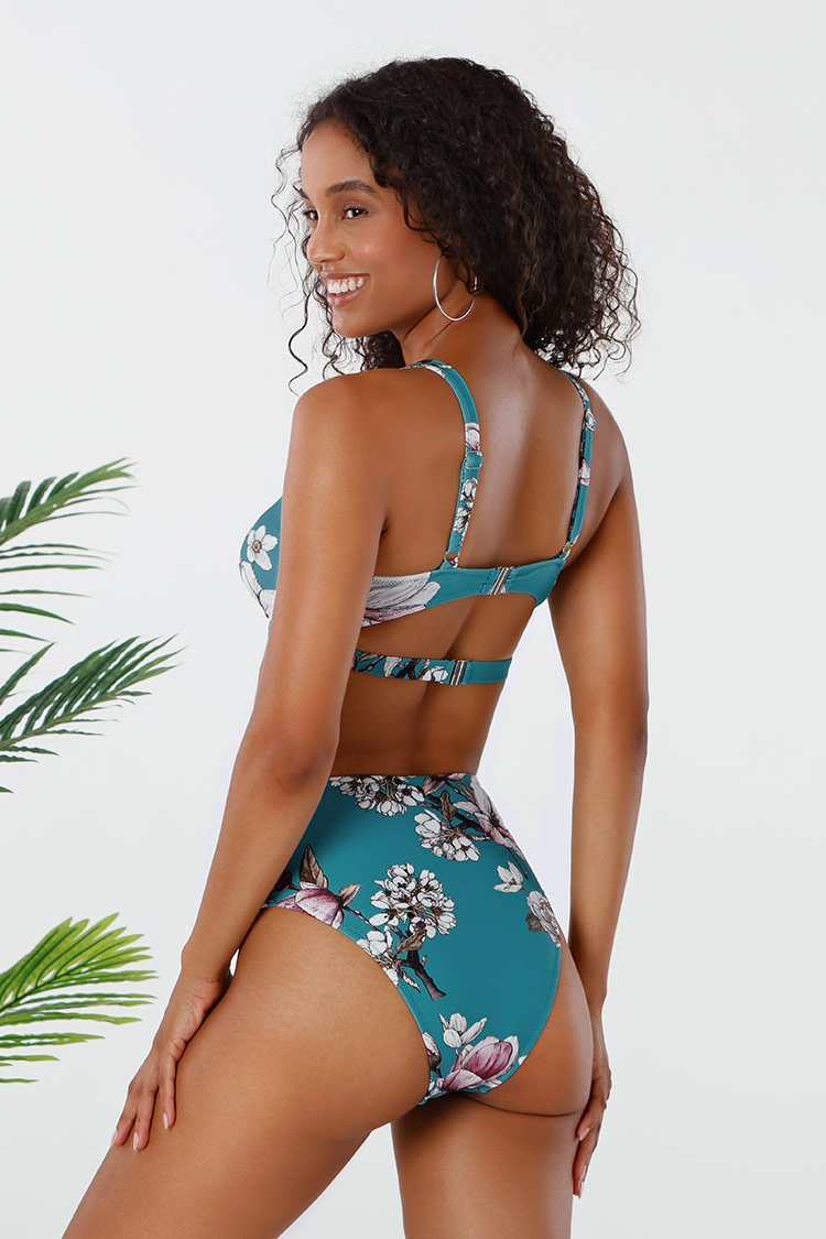 Blue Floral Twist Cutout High Waisted Bikini