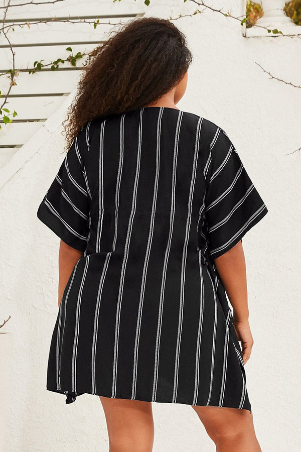 Black Striped Plus Size Dress