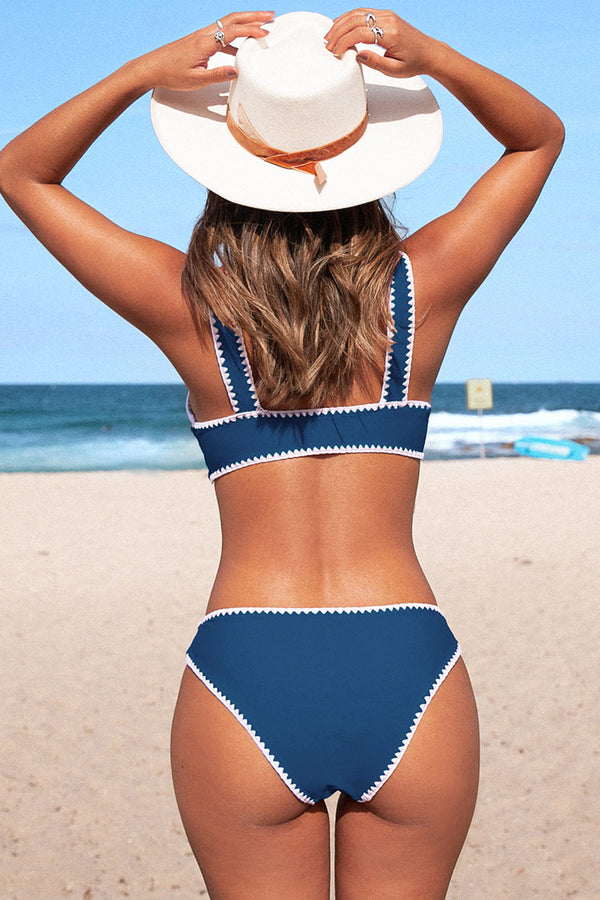 Blue and White Crochet Trim Sporty Bikini