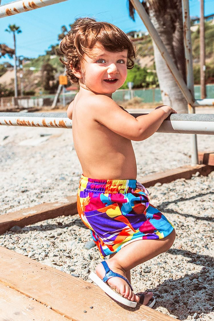 Colorful Print Boys Swim Trunks