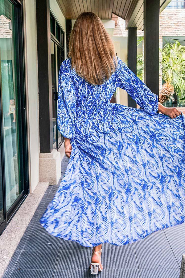 Blue Leafy Maxi Cover Up Dress