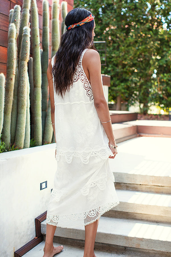 White Slip Cover Up with Crochet Trim