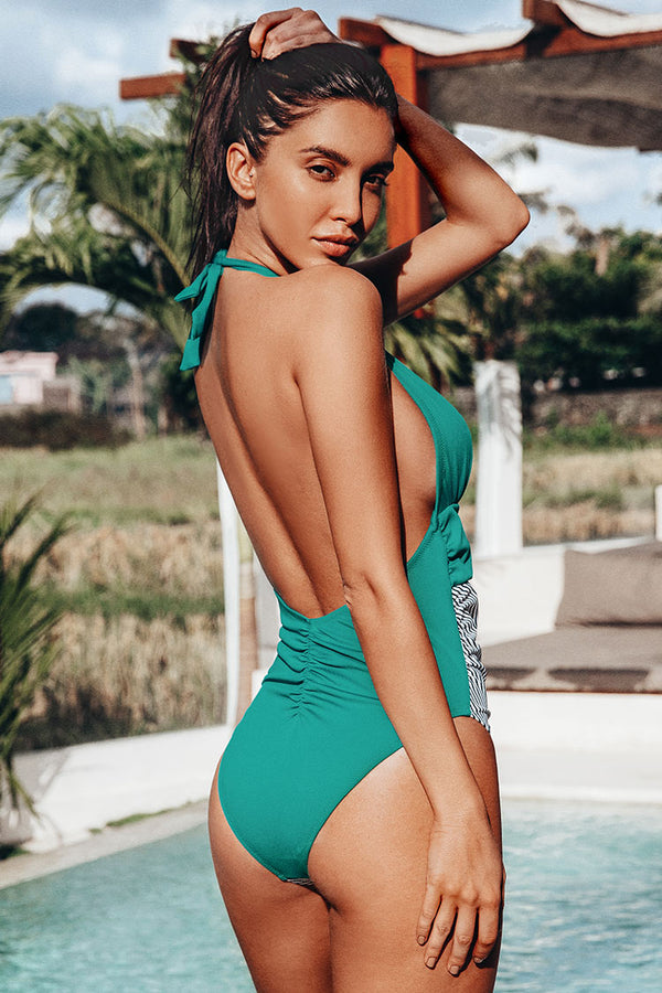 Green Textured and Striped Halter One-Piece Swimsuit