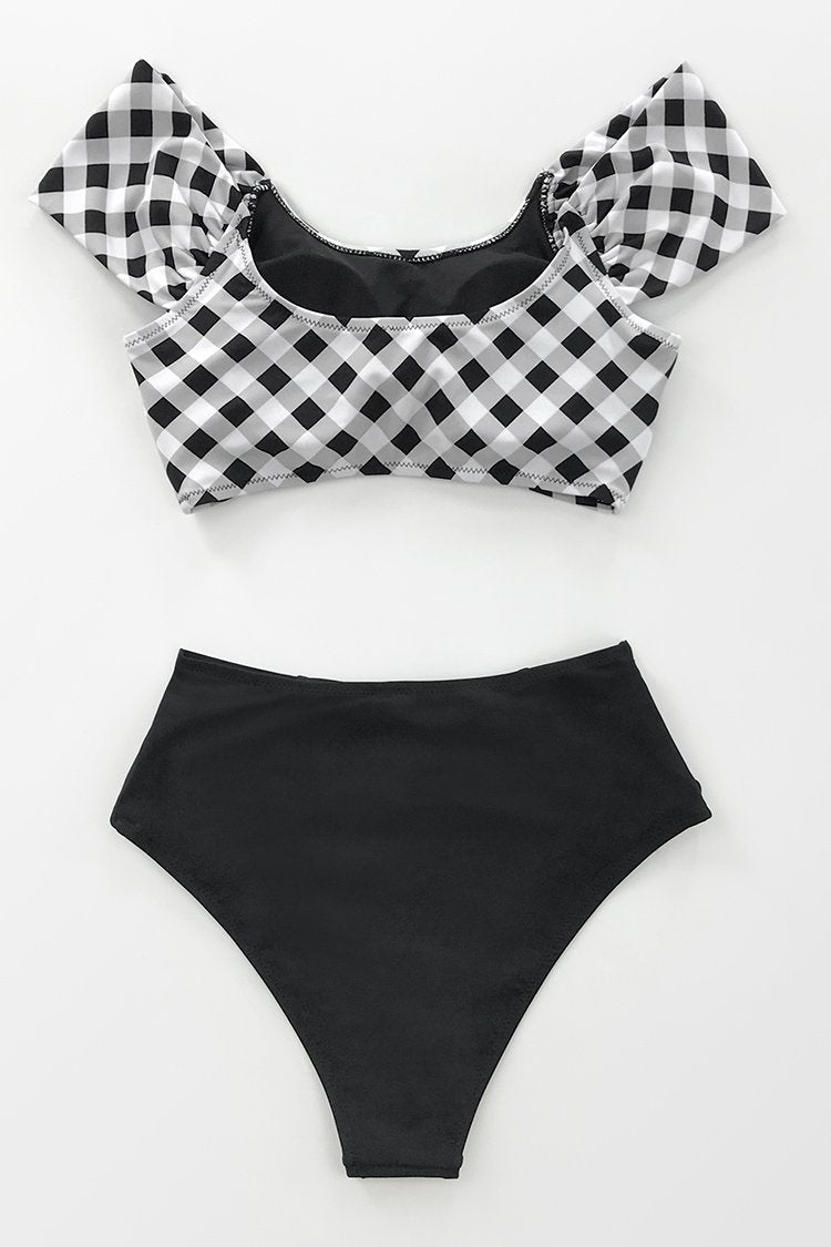 Black and White Gingham Bikini