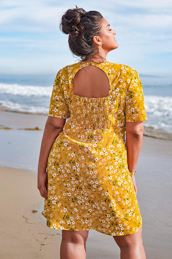Yellow Floral Smocked Plus Size Dress