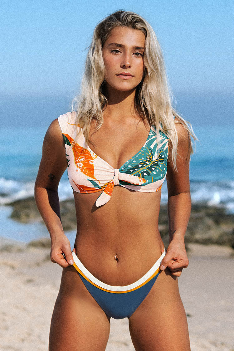 White and Orange Trim Bikini Bottom
