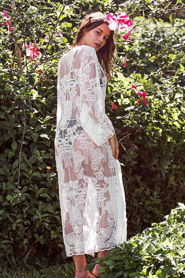 Boho Floral Long Sleeve Maxi Cover Up