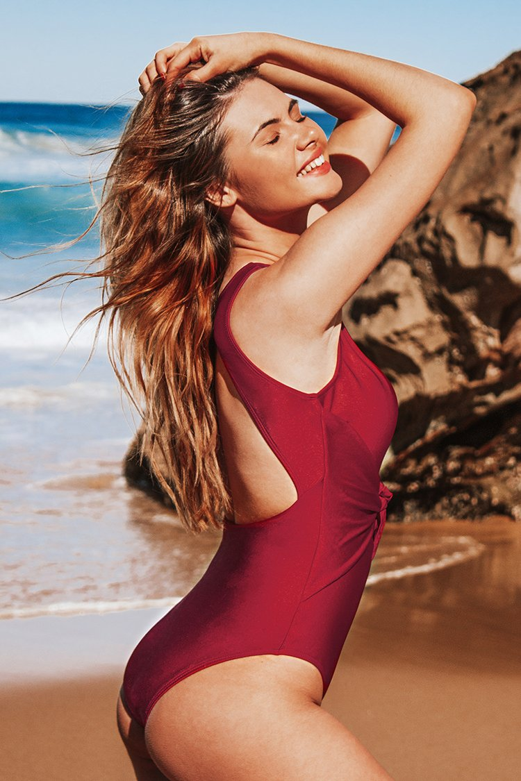 Red Cutout One-Piece Swimsuit