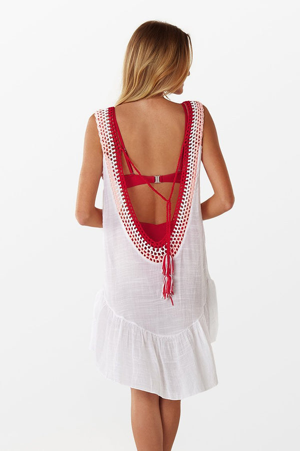 White Cover Up with Crochet V-Neckline
