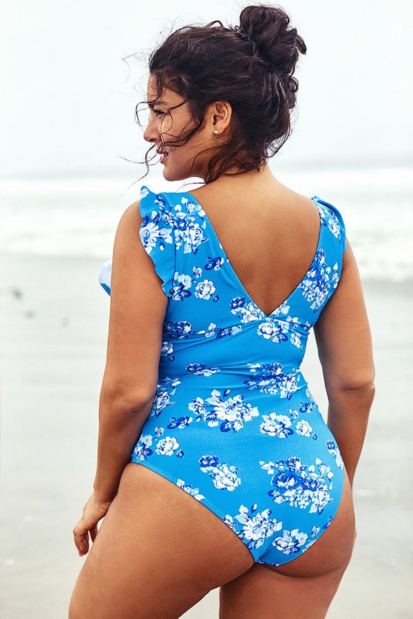 Blue Ruffled Plus Size One Piece Swimsuit