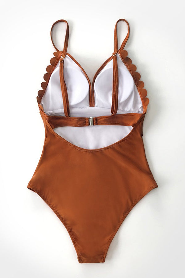 Dark Amber Scalloped One-Piece Swimsuit