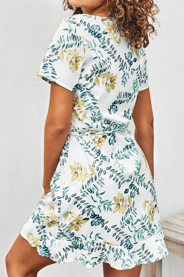 White Leafy Print Short Sleeve Wrap Dress