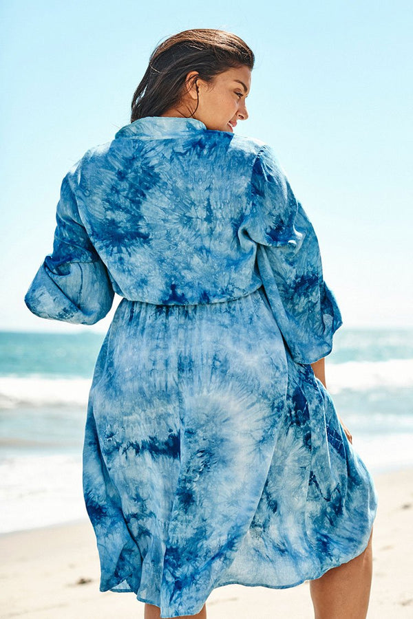 Blue Tie-Dye Plus Size Dress