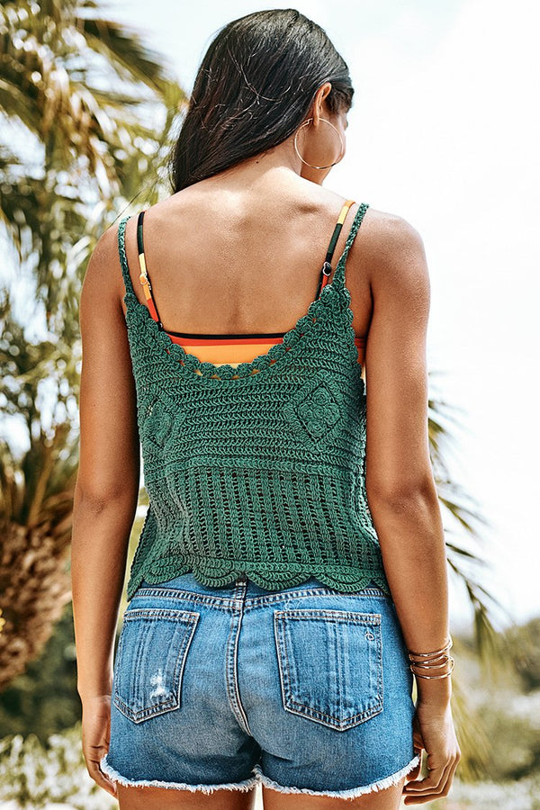 Green Crochet Tank Top