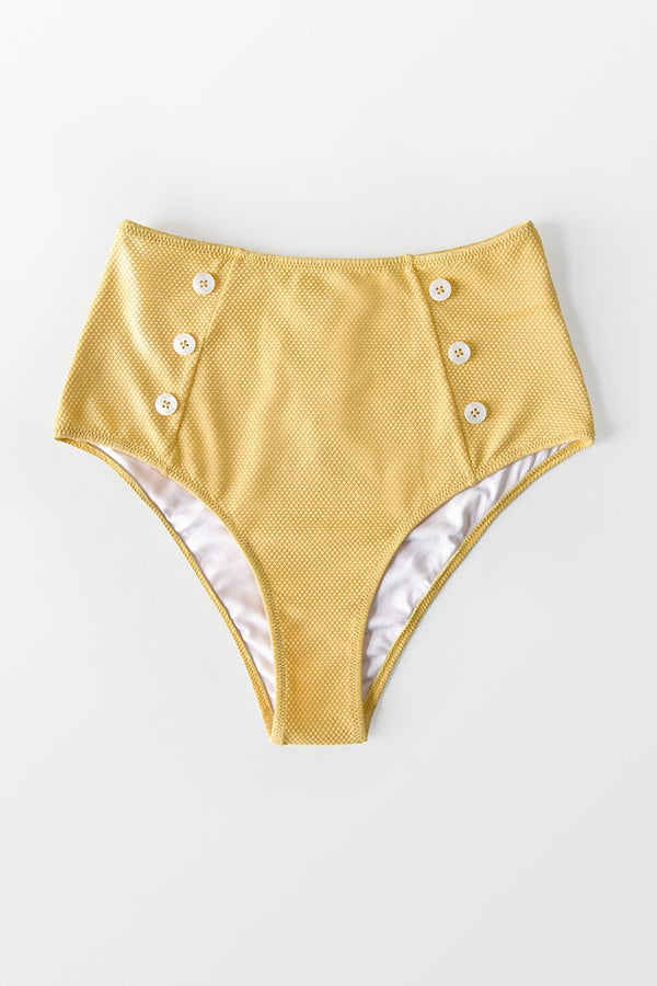 Yellow Buttoned High Waisted Bikini Bottom