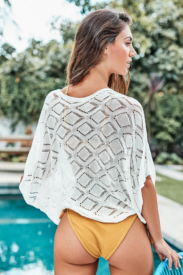White Knitted Cover Up Top