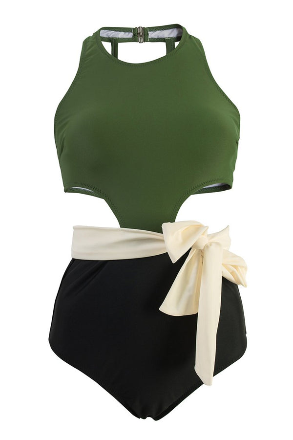 Olive Bowknot One-Piece Swimsuit