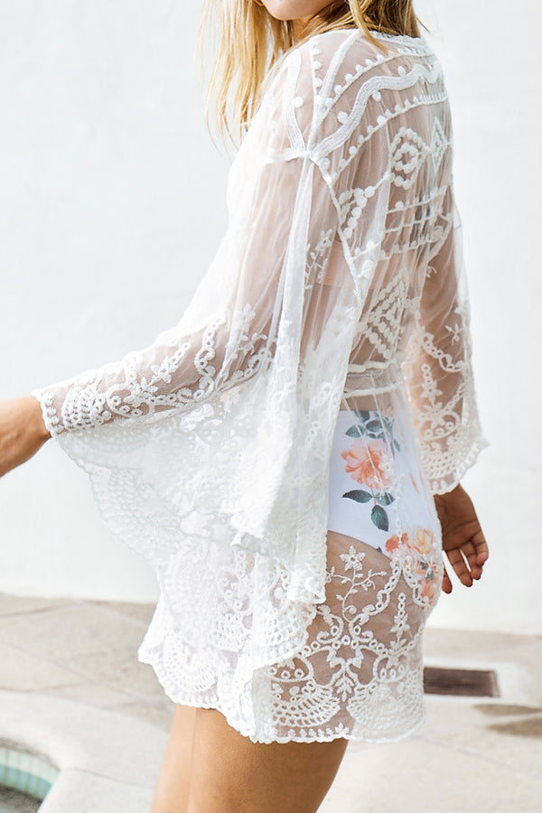 Bat-Sleeve White Lace Cover Up