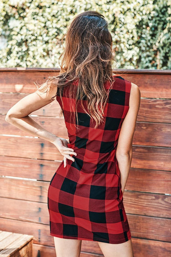 Plaid Sleeveless Mini Dress