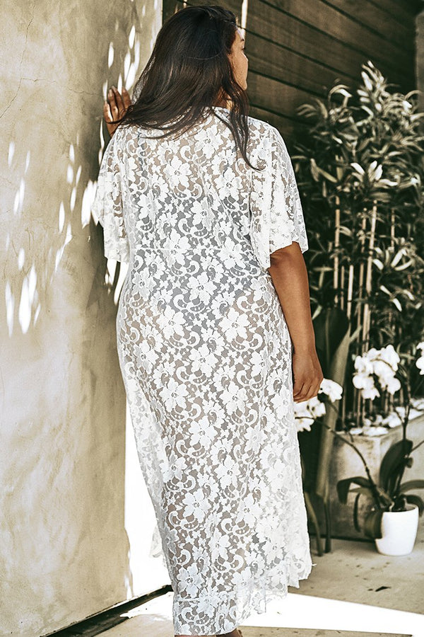 Long White Lace Plus Size Cover Up