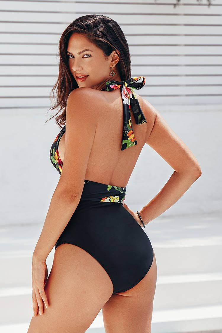 Floral and Black Plunge Halter One Piece Swimsuit