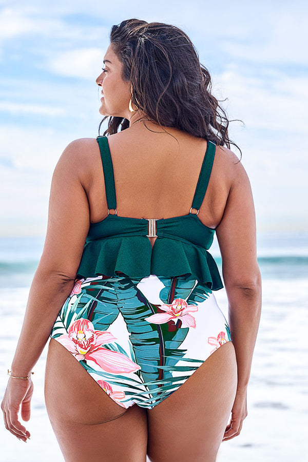 Green and Floral Ruffled Plus Size Bikini