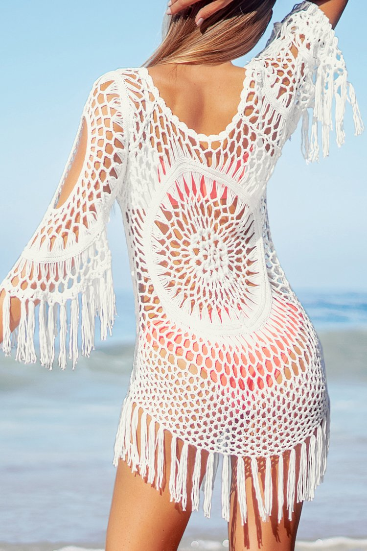 White Crochet Cover Up with Fringe Trim