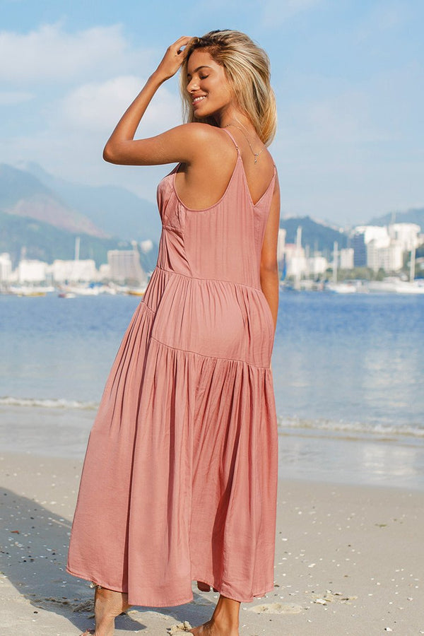 Plunge Neck Tiered Maxi Dress