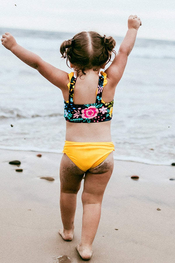 Floral Ruffled Bandeau Bikini For Toddler Girls and Girls