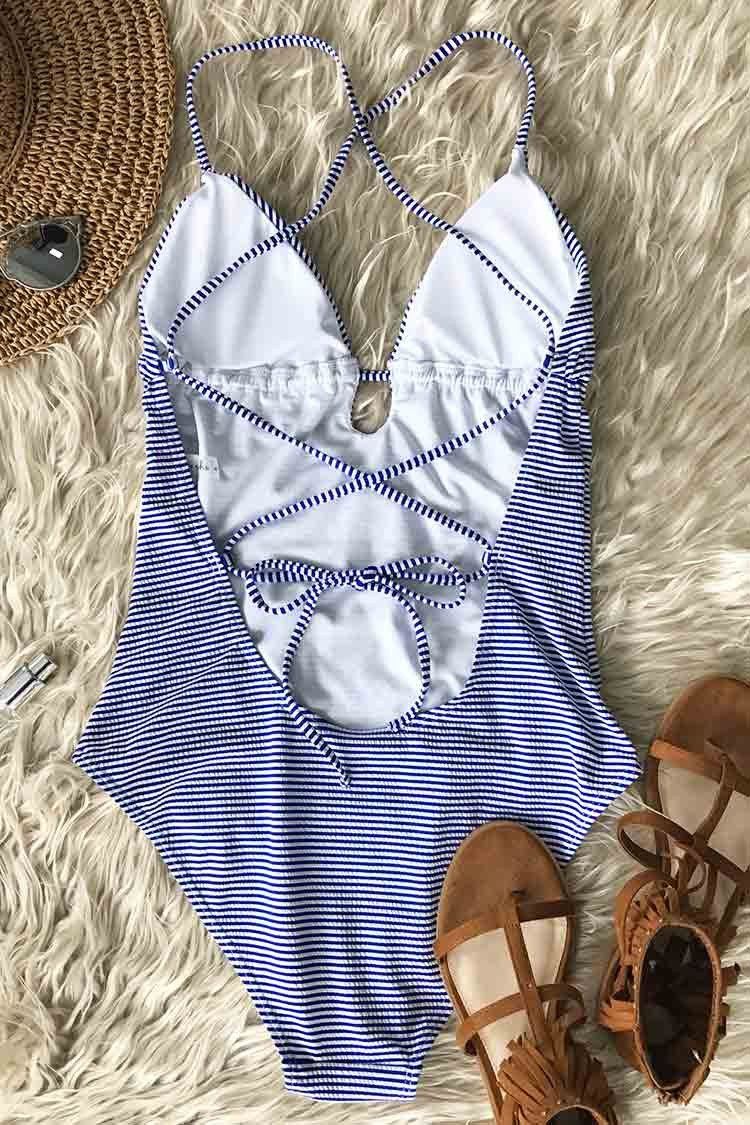 Blue Sky Embroidery One-Piece Swimsuit