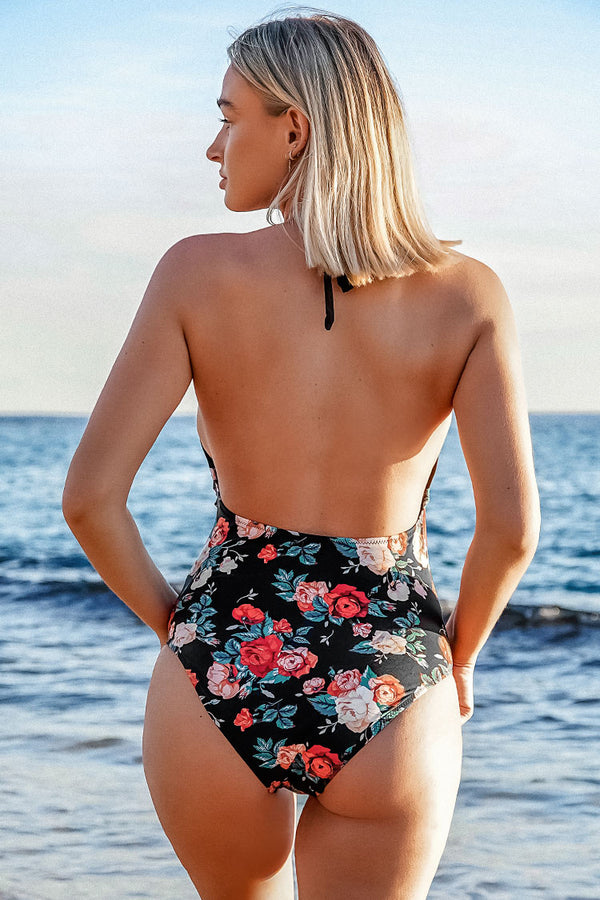 Black and Floral Plunging Halter One-Piece Swimsuit