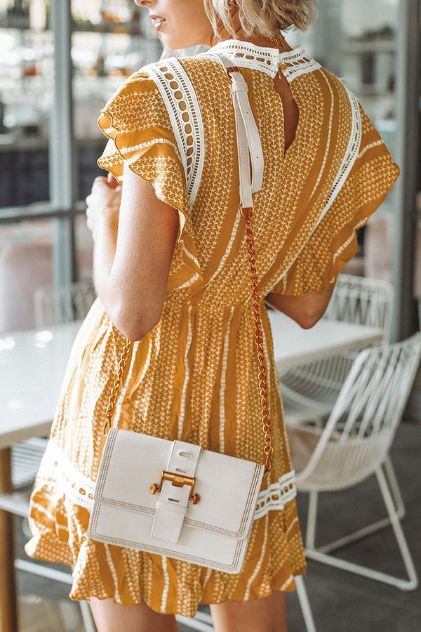 Yellow Print Ruffled Dress