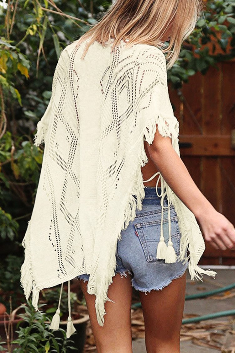 White Fringe Cover Up