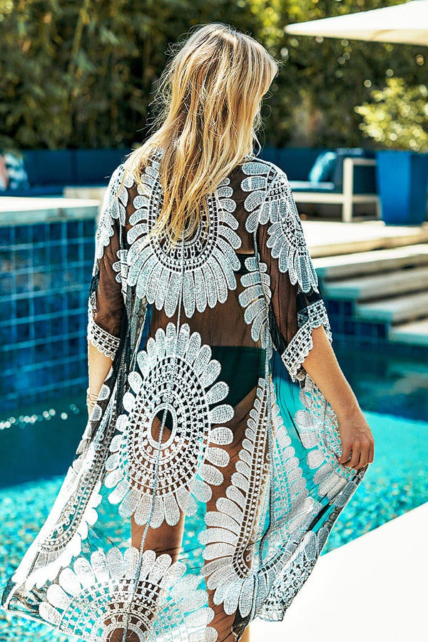 Black sunflower Crochet Cover Up