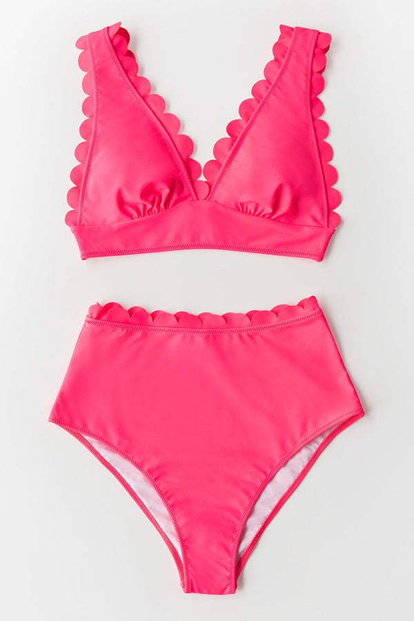 Neon Pink Scalloped Bikini Bottom