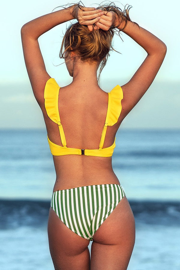 Yellow Ruffle Bikini with Striped Bottom