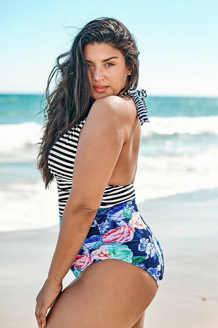 Stripe and Floral Plus Size One Piece Swimsuit