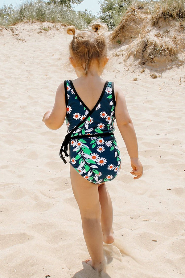 Daisy Print One-Piece Swimsuit For Toddler Girls and Girls